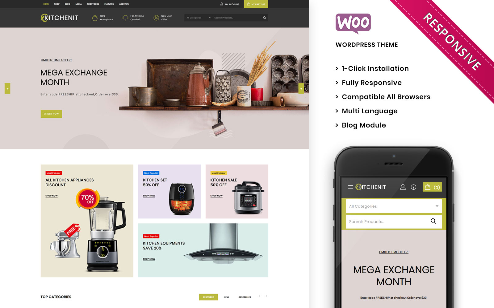 """Kitchenit -  The Mega Kitchen Store Premium"" thème WooCommerce adaptatif #101768"