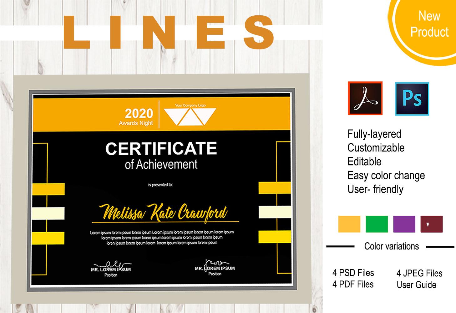 """Plantilla De Certificado """"LINES"""" #101704"""