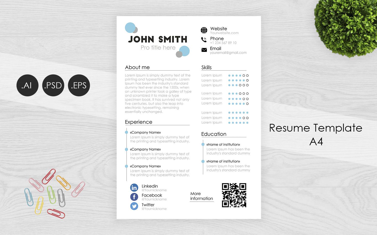 Professional AI / PSD / EPS Resume Template