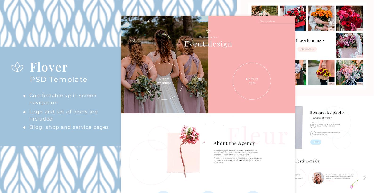 """PSD Vorlage namens """"Flover - Flower Shop and Event Design PSD"""" #101763"""