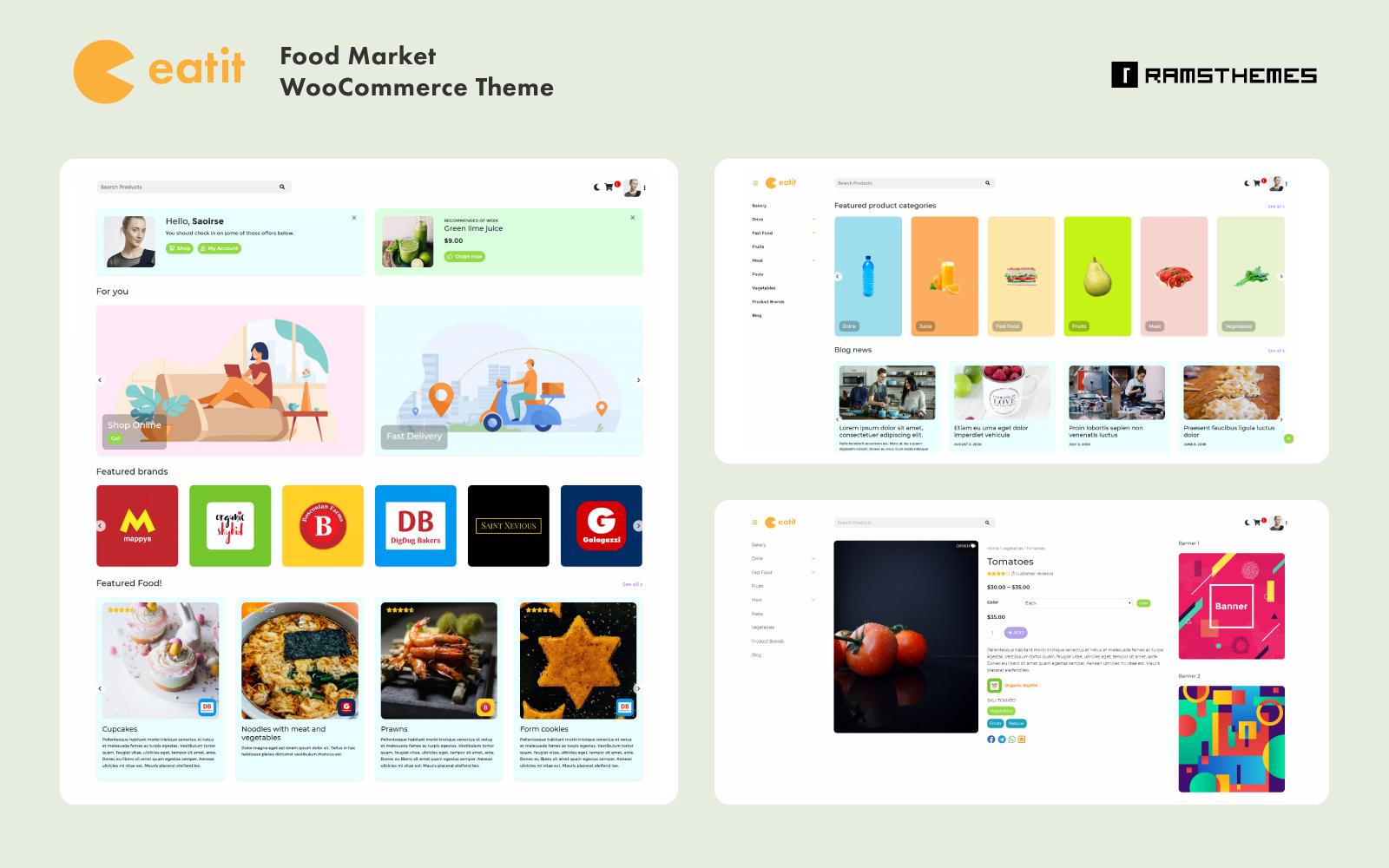 """Tema WooCommerce """"EATIT - Food Market"""" #101711"""