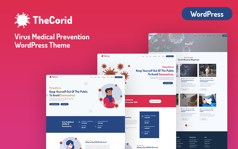 """Thecorid - Corona Virus(Covid-19)  Medical Prevention"" BootstrapWordPress模板 #101713"