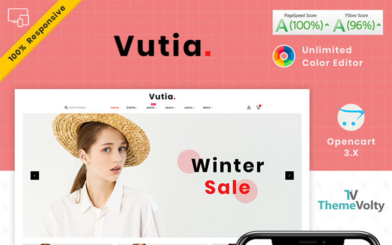 """Vutia Fashion Store"" - адаптивний OpenCart шаблон №101769"