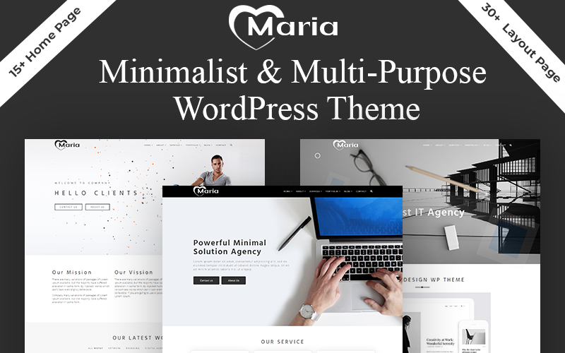 "WordPress Theme namens ""Maria - Minimal Portfolio & Multipurpose"" #101772"
