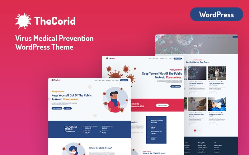 "WordPress Theme namens ""Thecorid - Corona Virus(Covid-19)  Medical Prevention"" #101713"