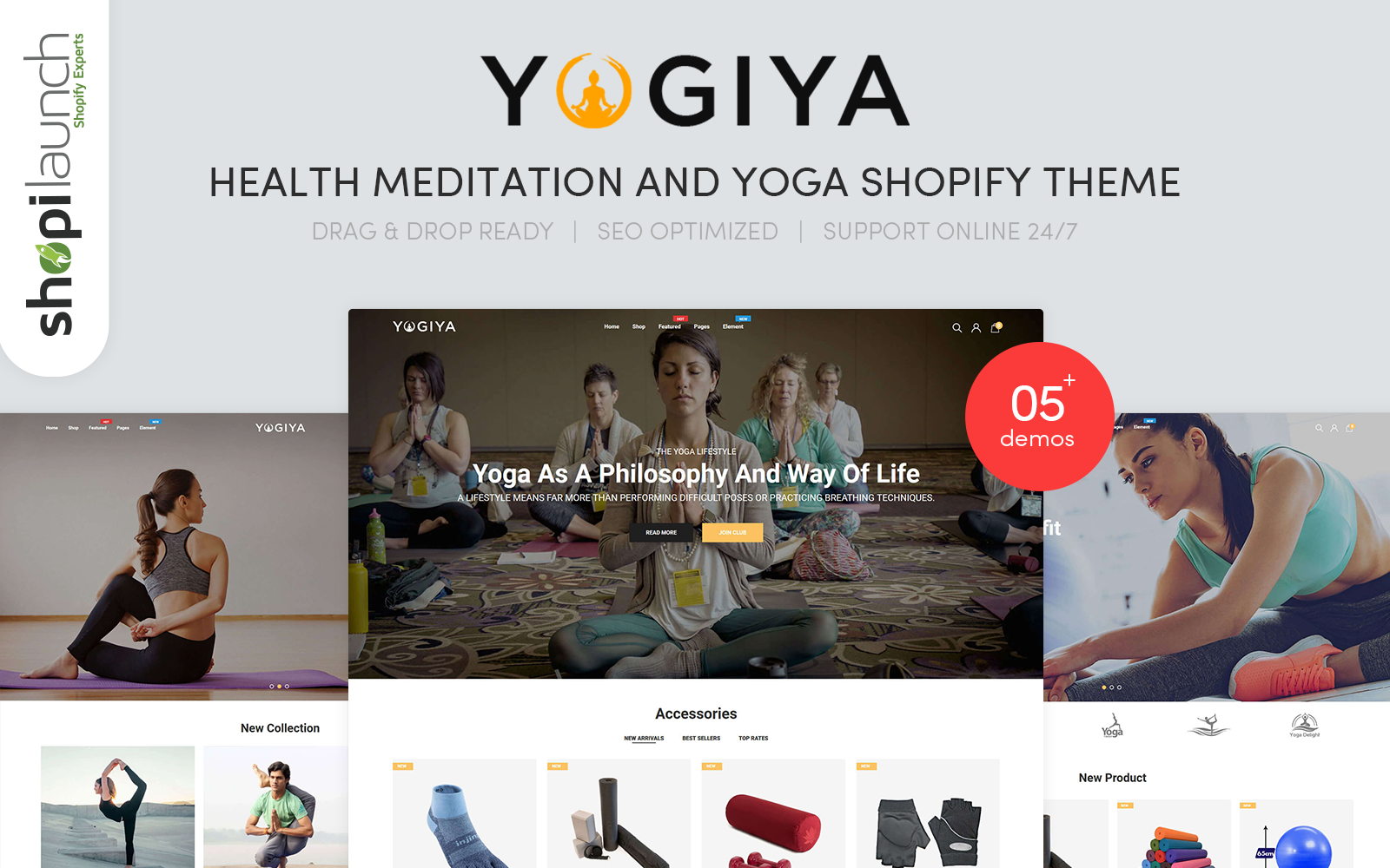 """Yogiya - Health Meditation And Yoga"" thème Shopify  #101771"