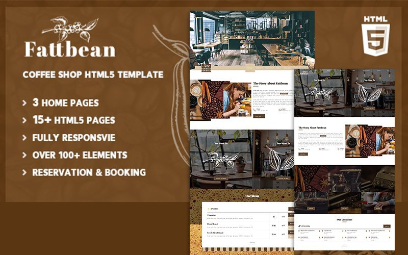 """Fattbean | Coffee Shop & Barista HTML5"" modèle web adaptatif #101804"