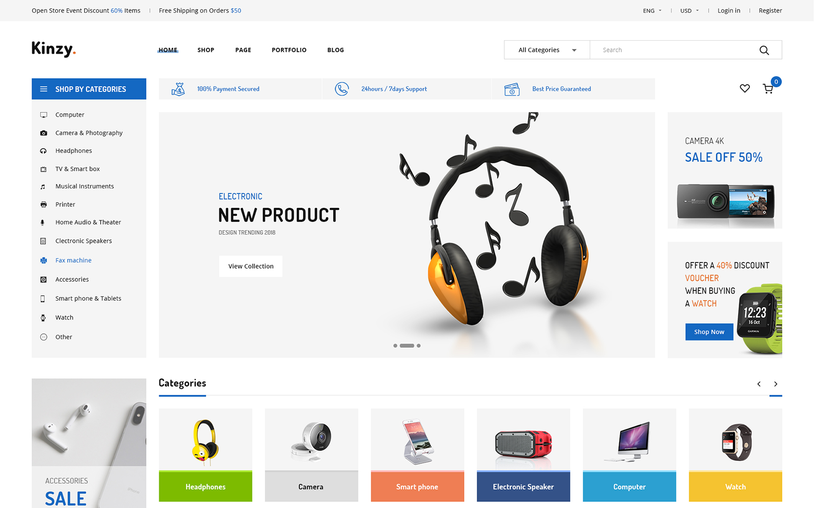 """Kinzy - Electronics Multi"" 响应式Shopify模板 #101807"