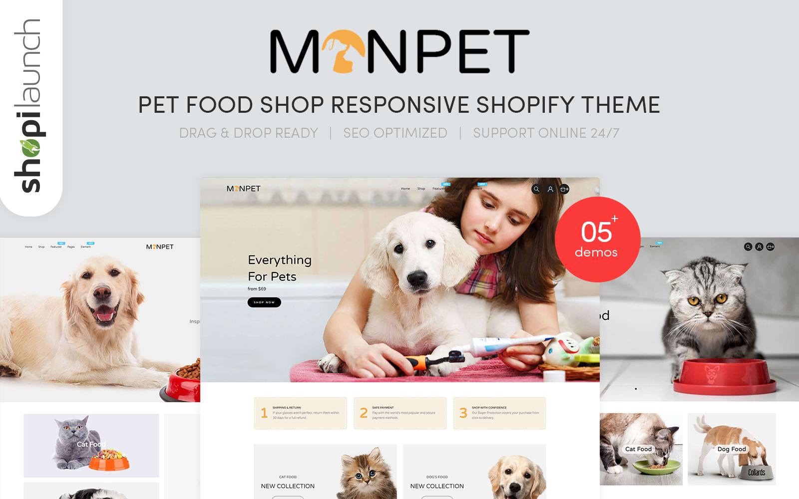 """Monpet - Pet Food Shop Responsive"" thème Shopify adaptatif #101845"