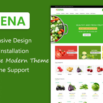 "OpenCart шаблон ""Zena Organic and Grocery Multipurpose Theme"" #101809"
