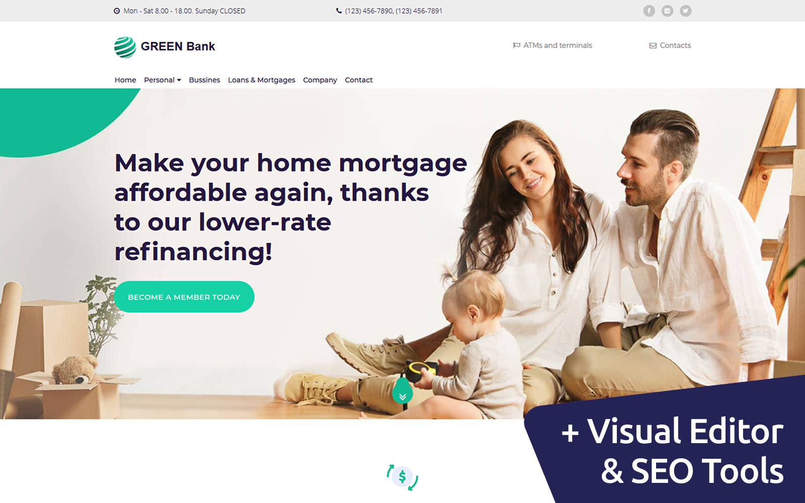 Responsivt Green Bank Landing Page-mall #101866