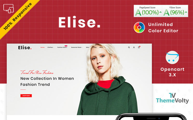Responsywny szablon OpenCart Elise Fashion #101806