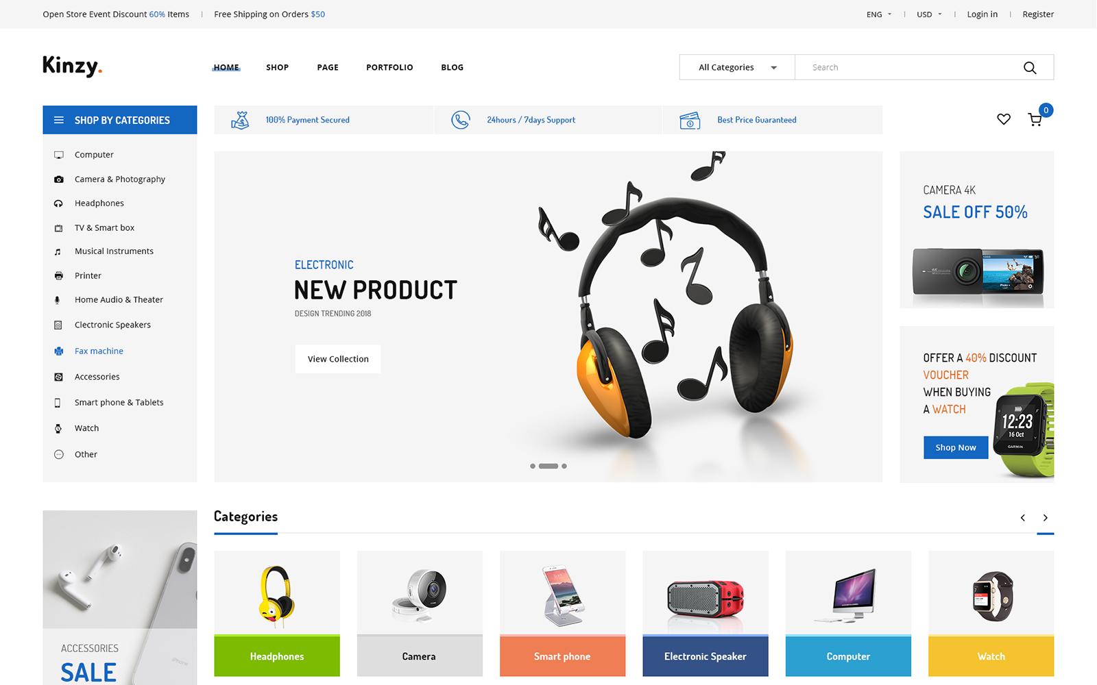 """Responzivní Shopify motiv """"Kinzy - Electronics Multi"""" #101807"""