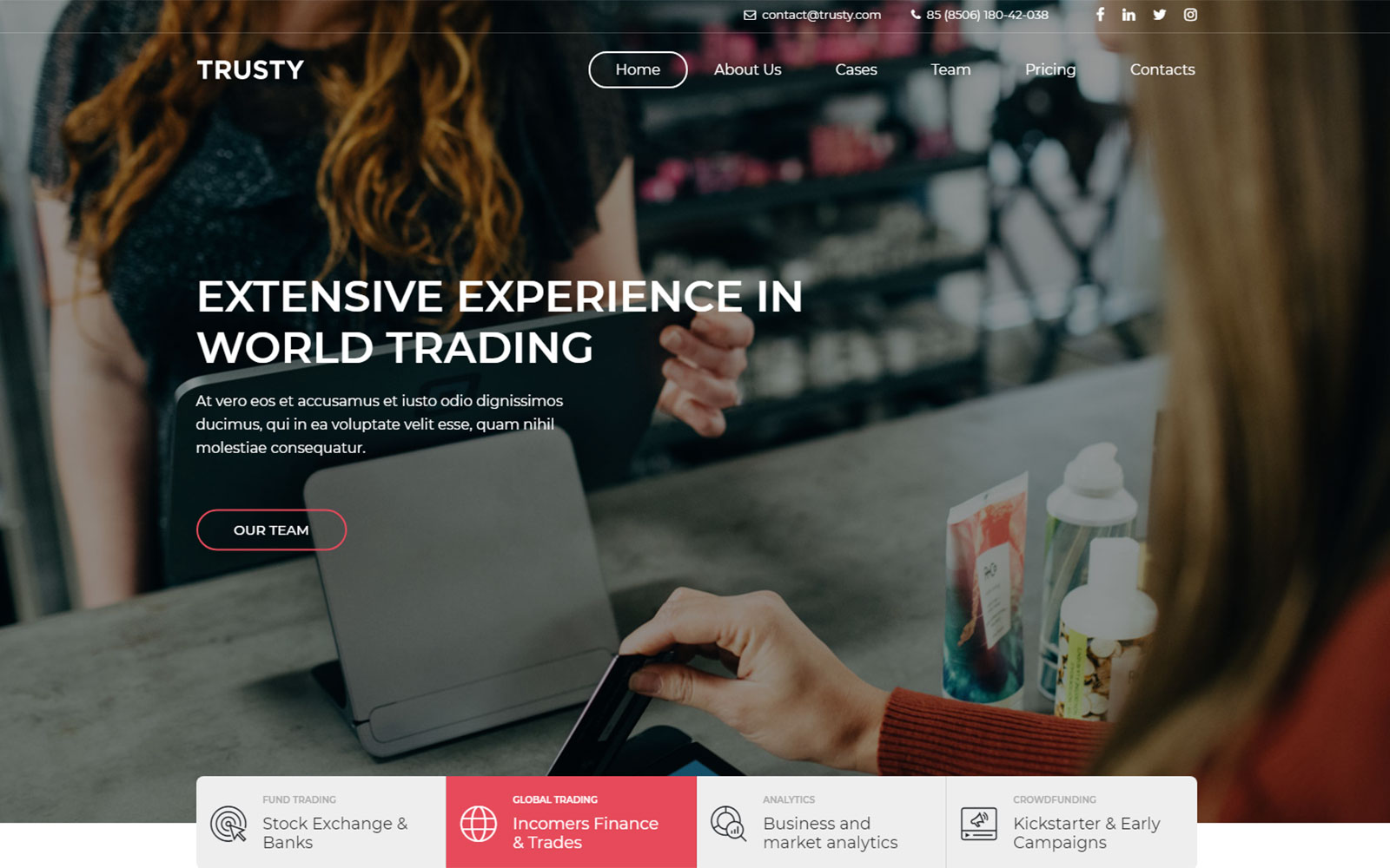 Trusty - Business company responsive Landing Page Template