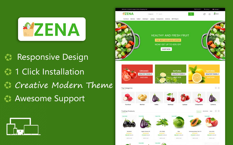 """Zena Organic and Grocery Multipurpose Theme"" - адаптивний OpenCart шаблон №101809"