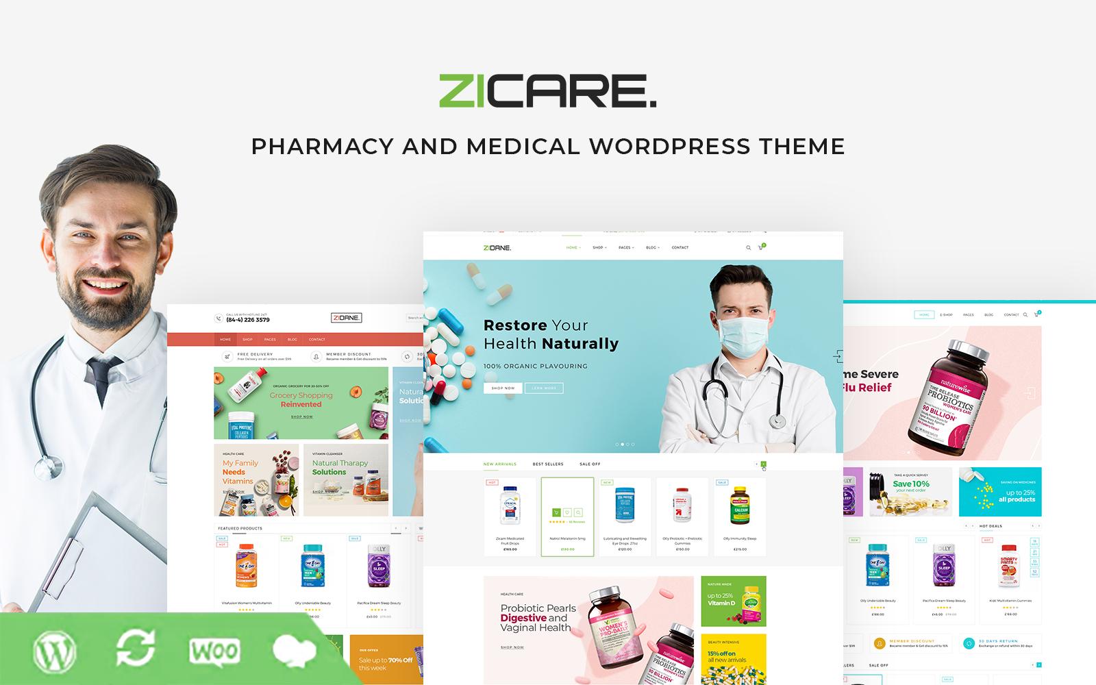 """Zicare - Pharmacy and Medical"" - WooCommerce шаблон №101805"