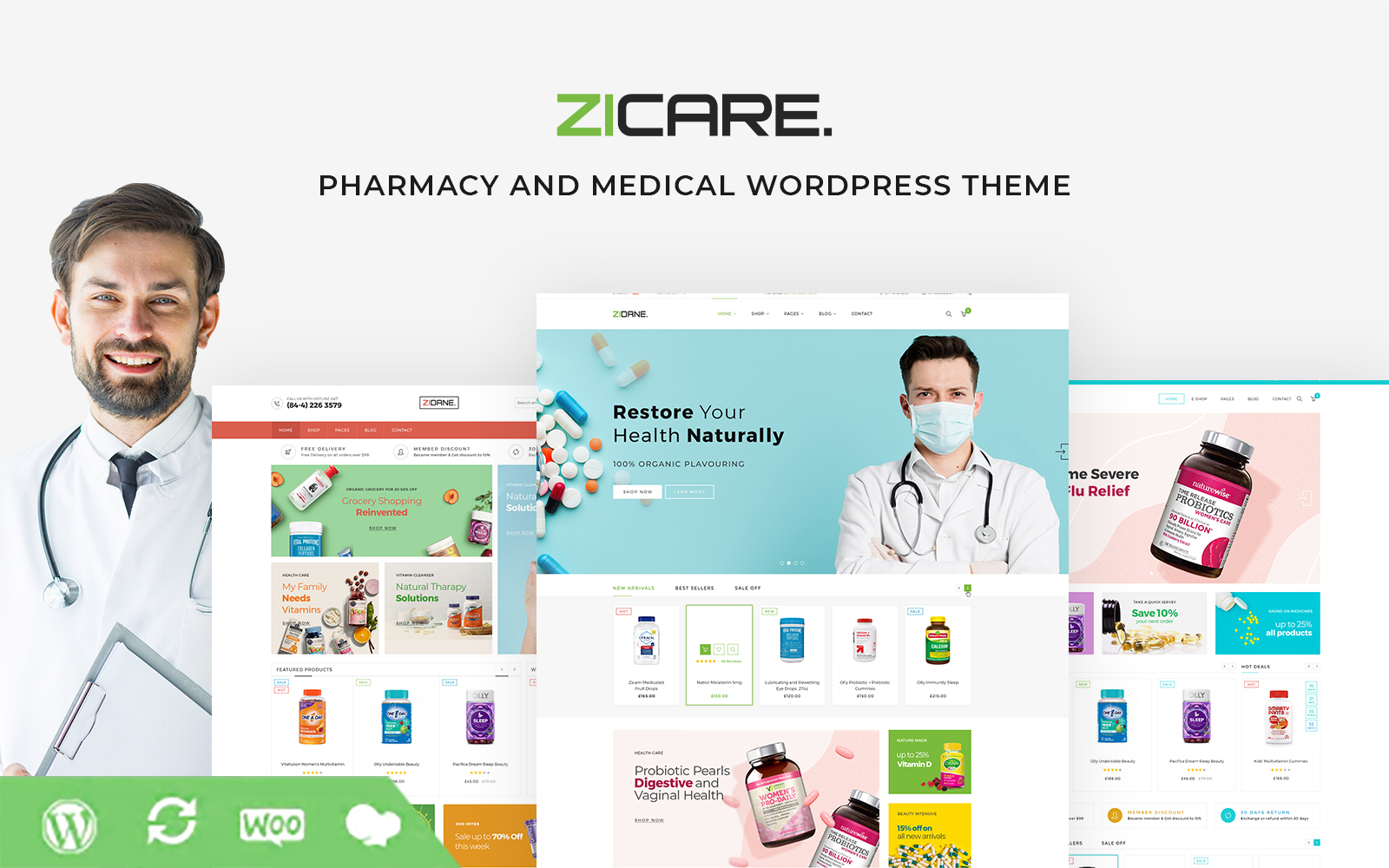 """""""Zicare - Pharmacy and Medical"""" WPML Ready WooCommerce Thema №101805"""