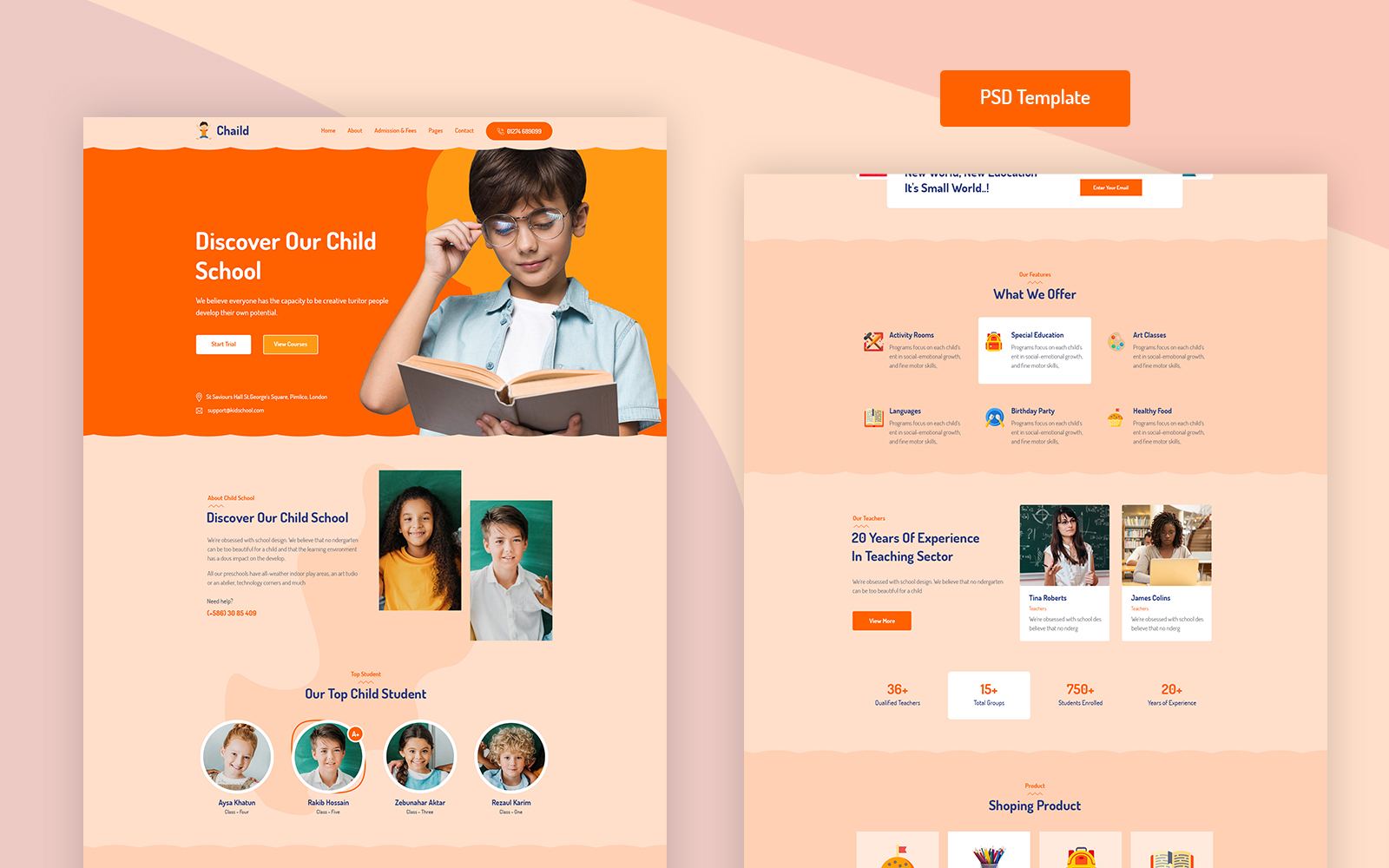 Chaild - Child School Education PSD PSD Template