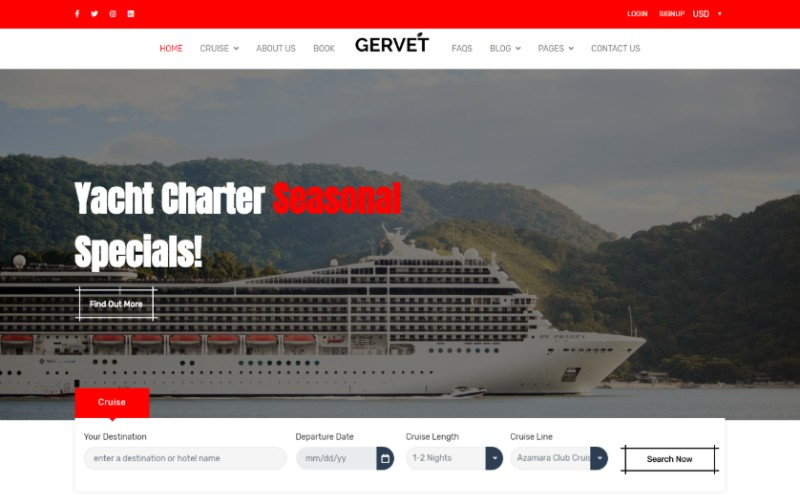 """Cruise Booking Html5"" modèle web adaptatif #101933"