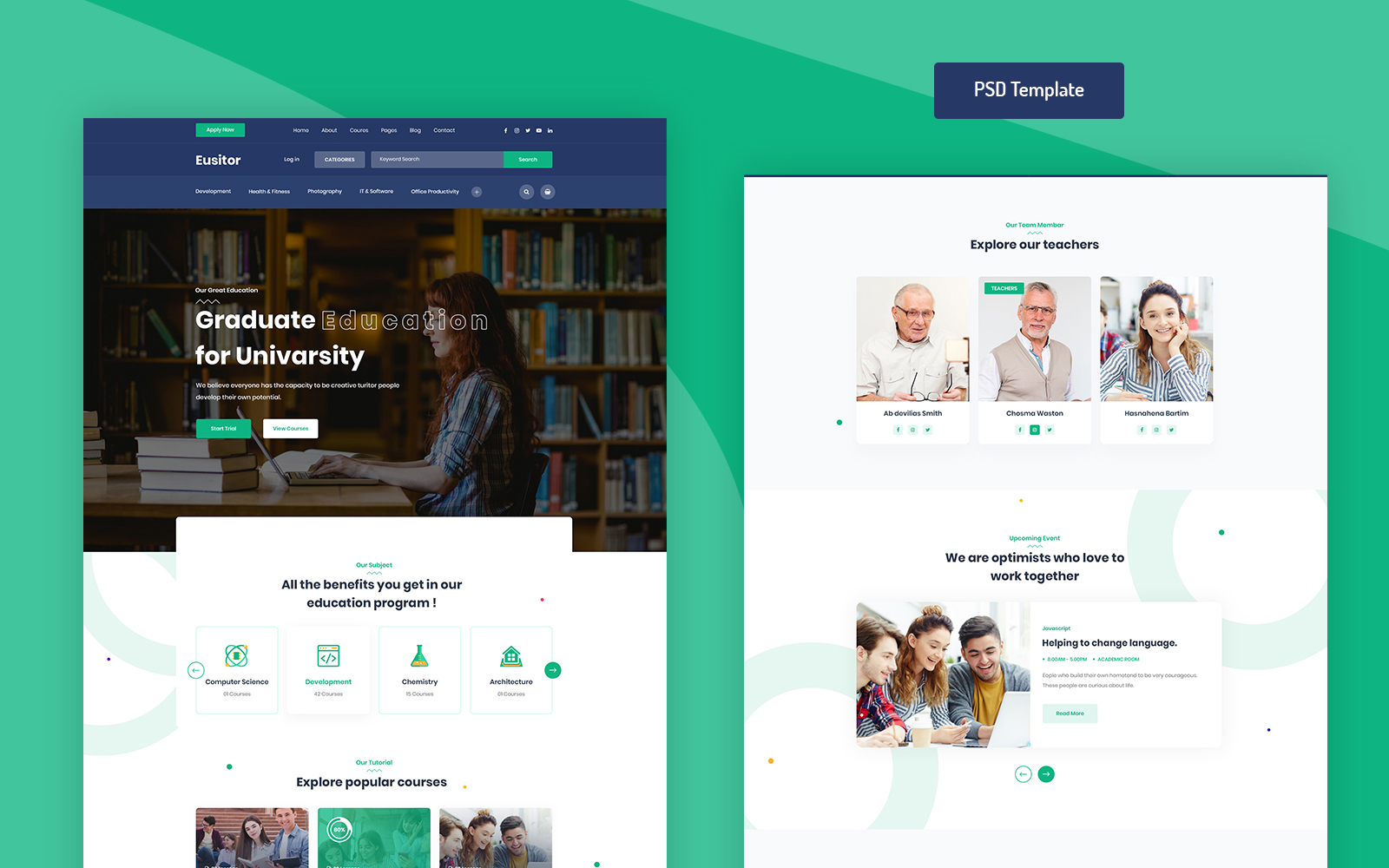 Eusitor - Education PSD PSD Template