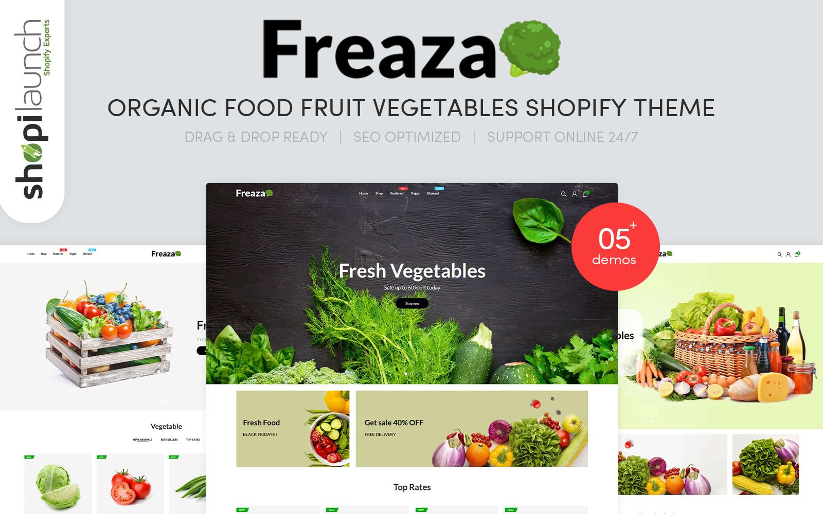 """Freaza - Organic Food Fruit Vegetables"" 响应式Shopify模板 #101934"
