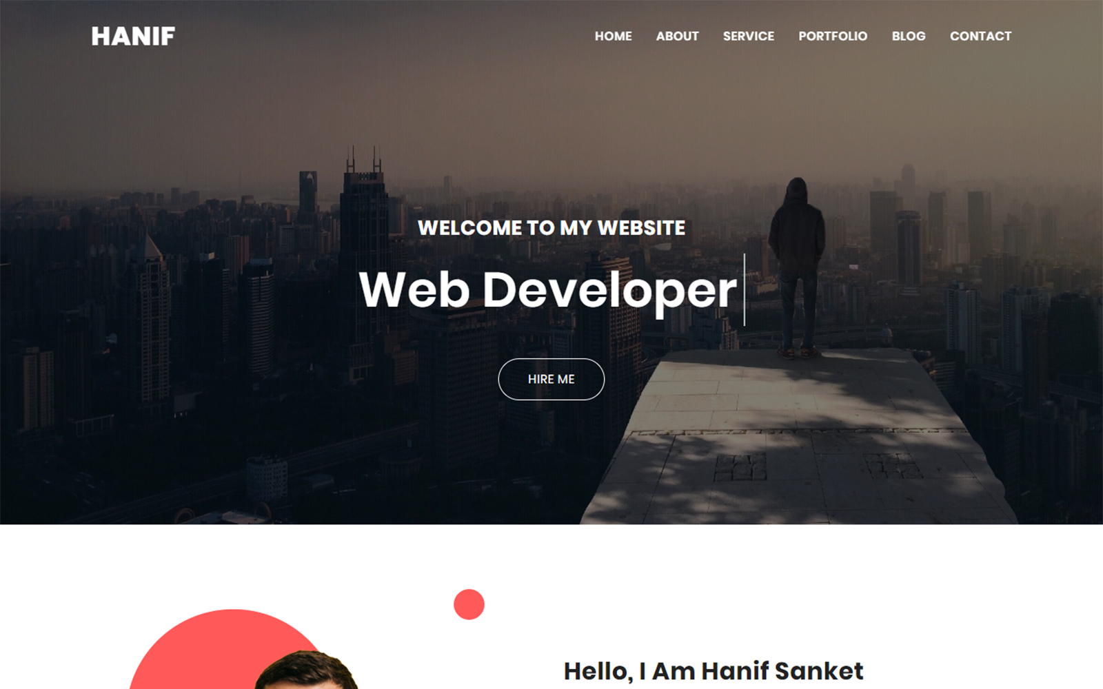 Hanif Personal Portfolio Landing Page Template