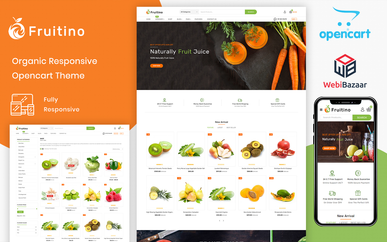 "Plantilla OpenCart ""Fruitino - Food & Grocery Store"" #101926"