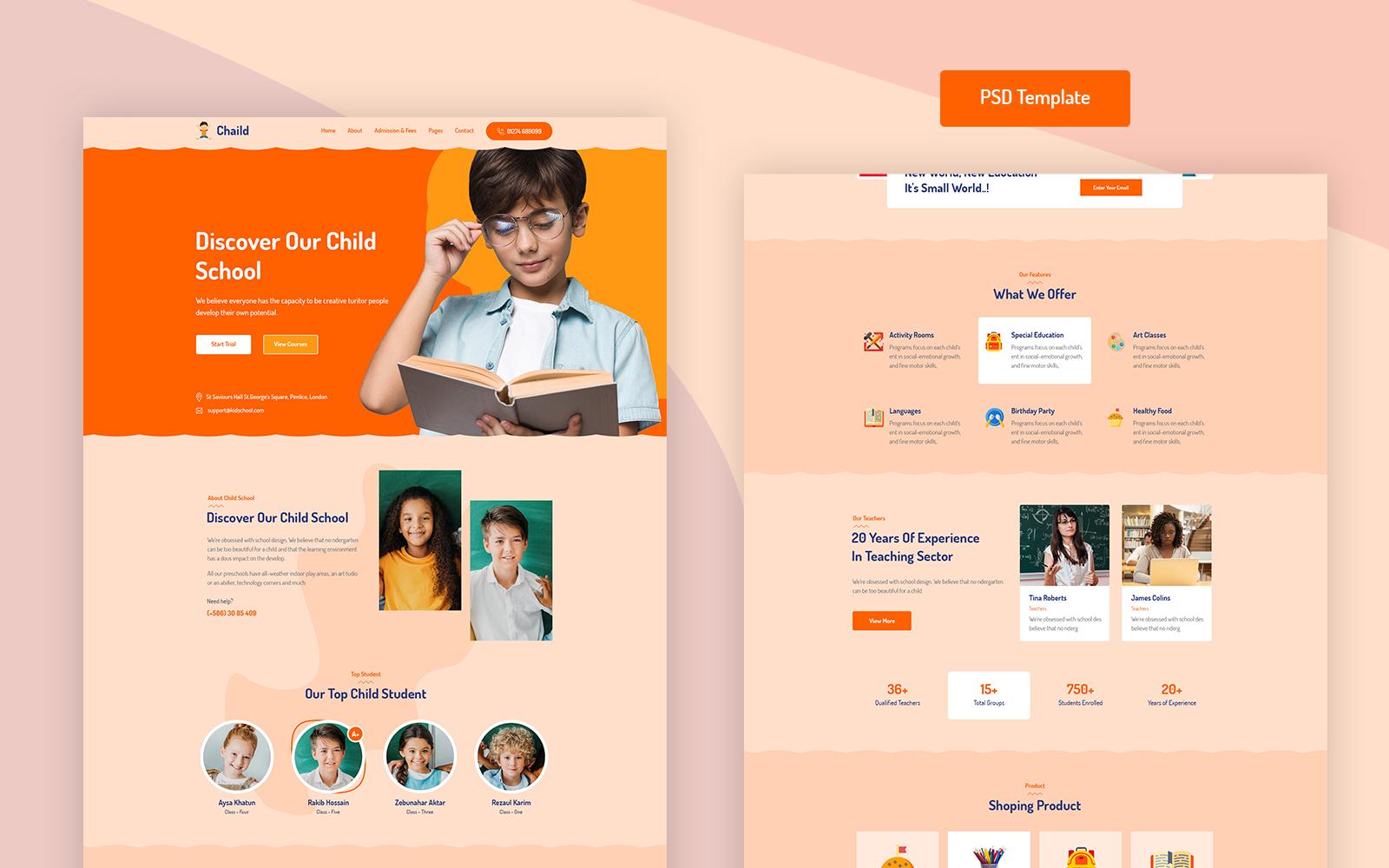"PSD Vorlage namens ""Chaild - Child School Education PSD"" #101922"