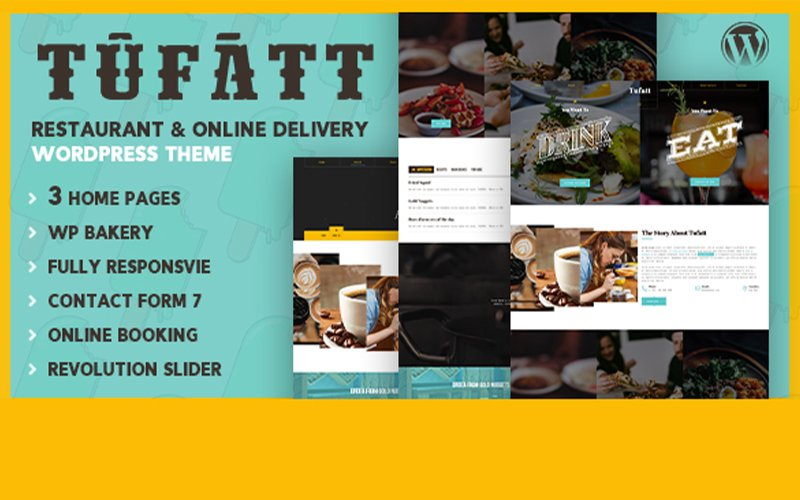Responsivt Tufatt | Restaurant  & Food Blog WordPress-tema #101935