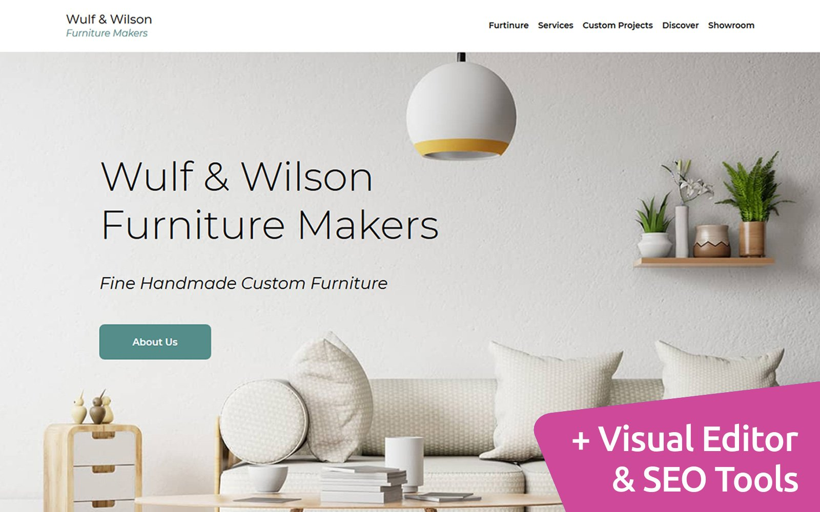 """Wulf Wilson - Furniture Makers"" 响应式Moto CMS 3 模板 #101932"