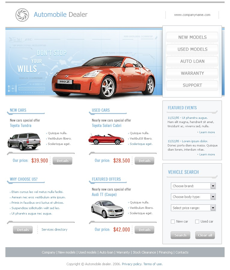 Car dealer website template 10297 by wt website templates for Ford motor company powerpoint template