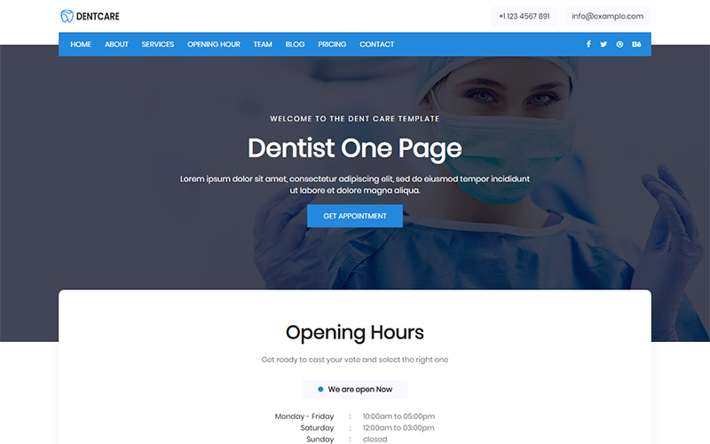 "Landing Page Template namens ""Dent Care - Dentist"" #102086"