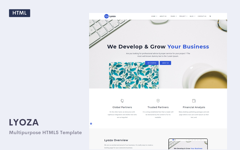 Lyoza - A Responsive HTML5 Business Template Web №102083