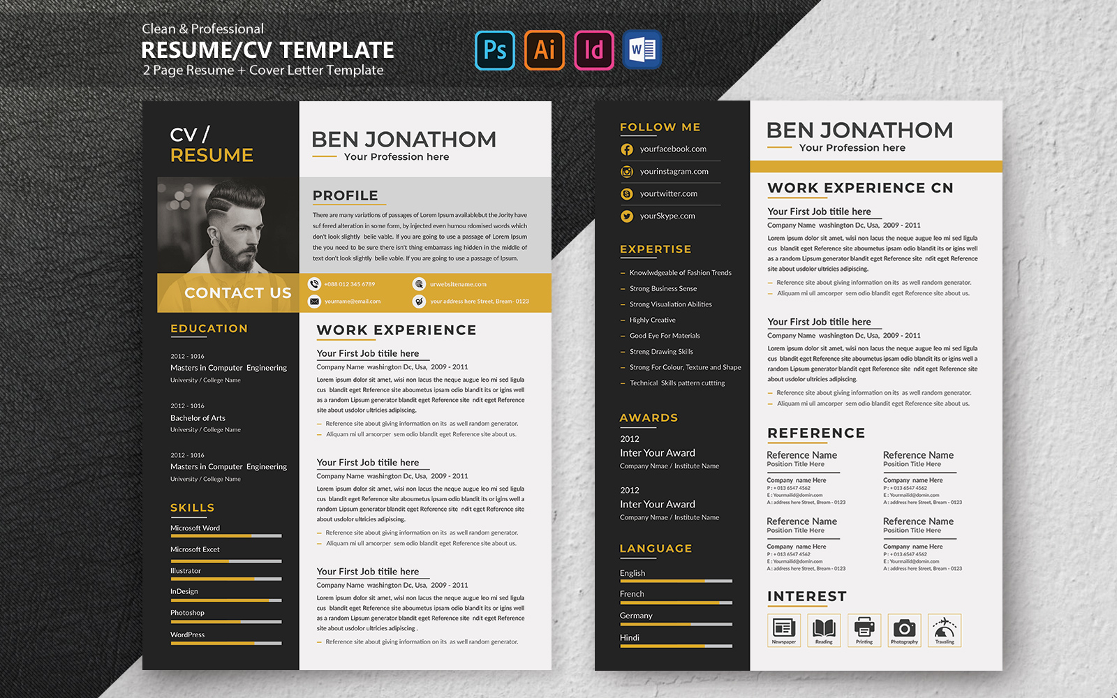 Szablon resume Modarn and Creative Ben Jonathom #102092