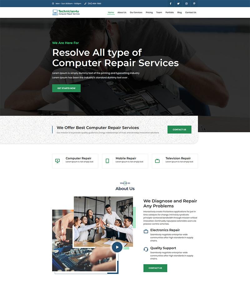 Technician4u Landing Page Template
