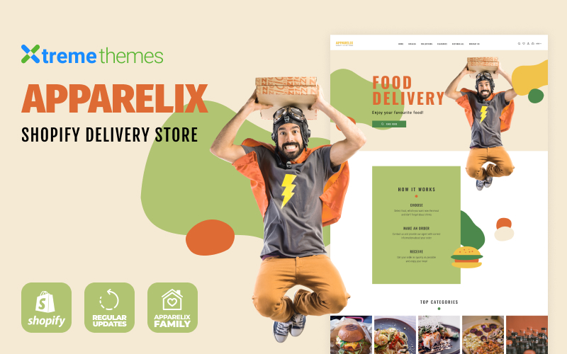 """Tema Shopify Responsive #102081 """"Apparelix Food Delivery"""""""
