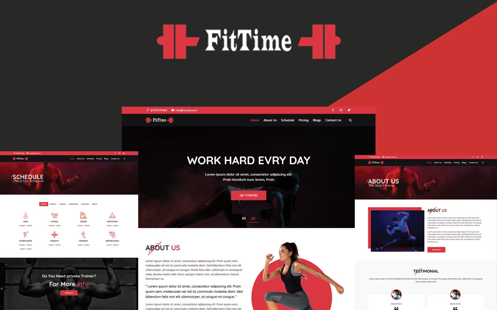 "Tema Siti Web Responsive #102087 ""FitTime - Gym Multipurpose HTML"""