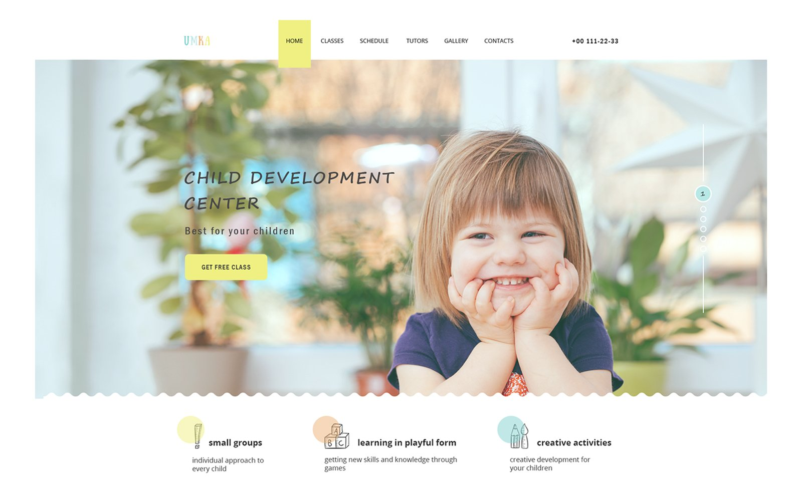 UMKA - Children & Kindergarten one page PSD Template