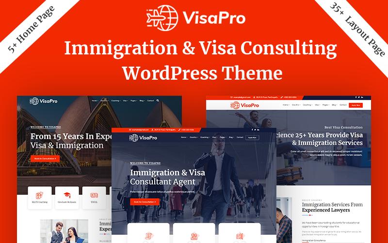 """VisaPro - Immigration & Visa Consulting"" Responsive WordPress thema №102084"