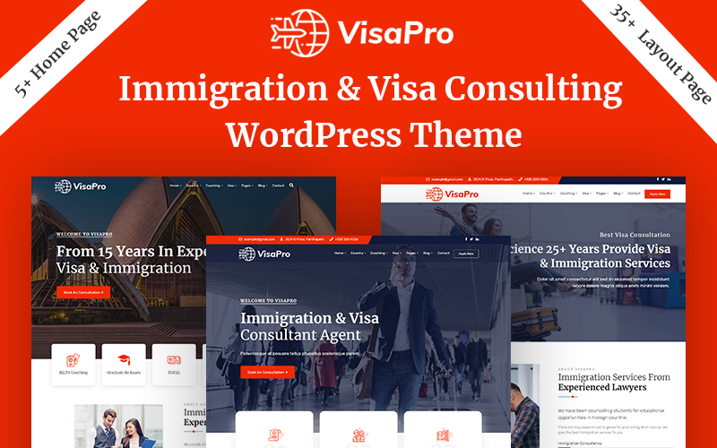 """VisaPro - Immigration & Visa Consulting"" 响应式WordPress模板 #102084"