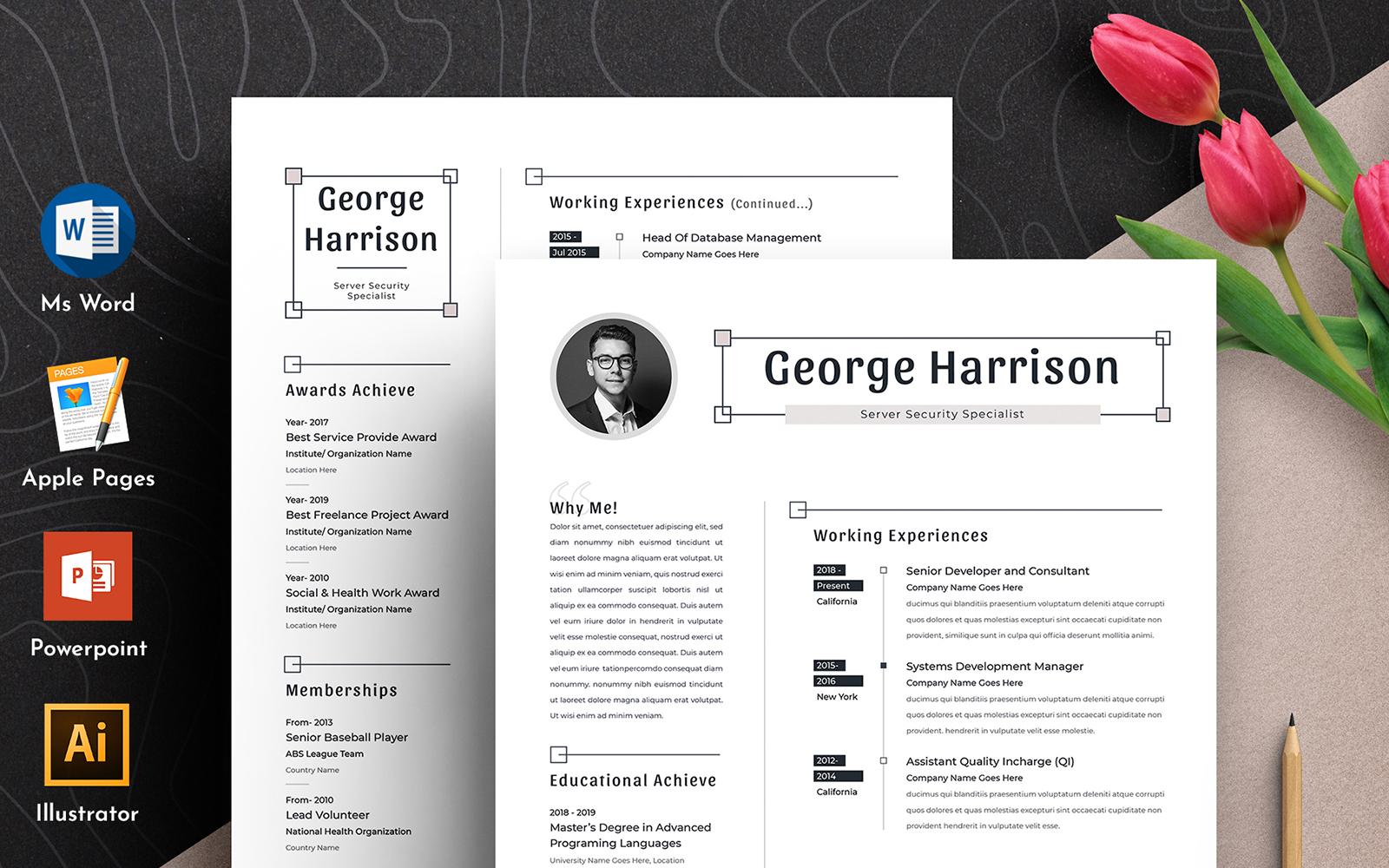 """""""George Clean Word Pages Cv"""" - Шаблон резюме №102168"""