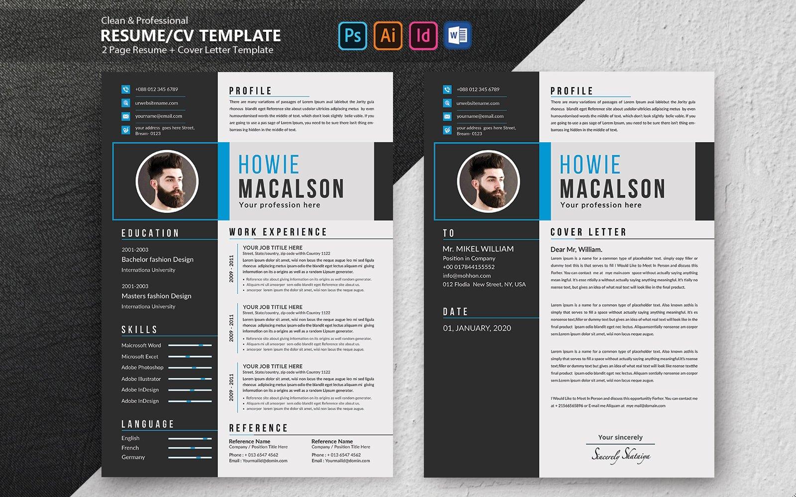 """Howie Macalson Creative"" - Шаблон резюме №102100"
