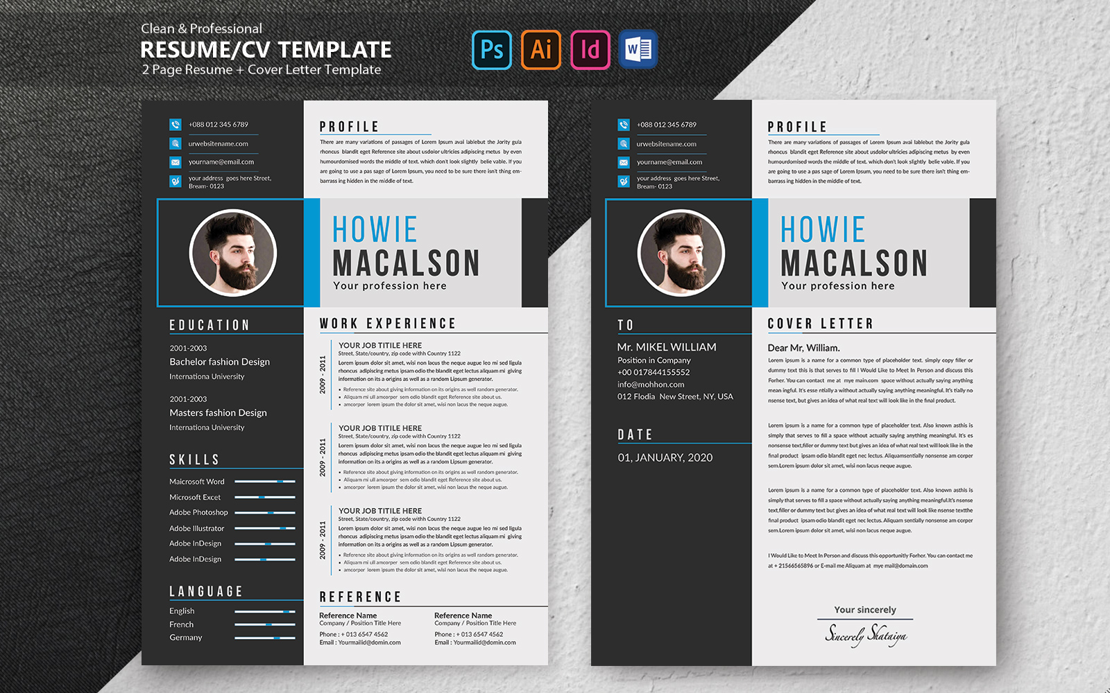 """Lebenslauf-Vorlage namens """"Howie Macalson Creative"""" #102100"""