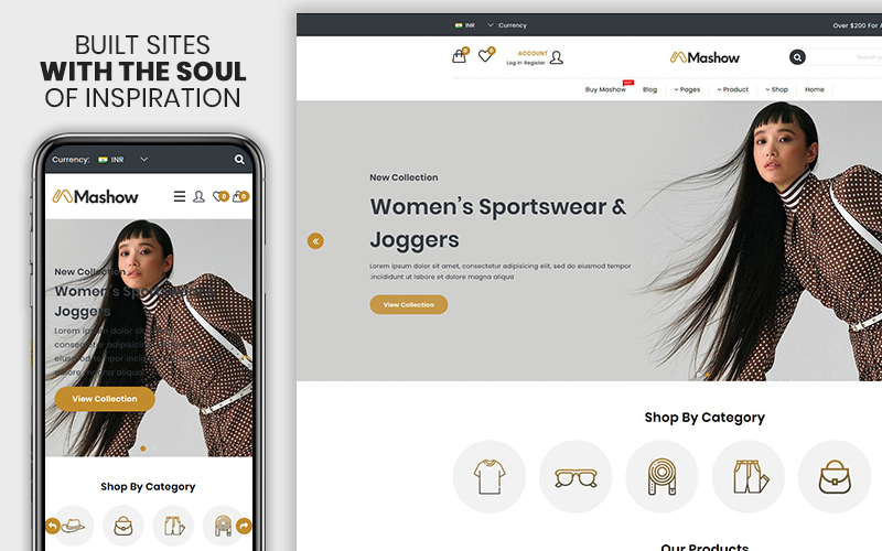 """Mashow - The Fashion eCommerce Premium"" - адаптивний Shopify шаблон №102147"