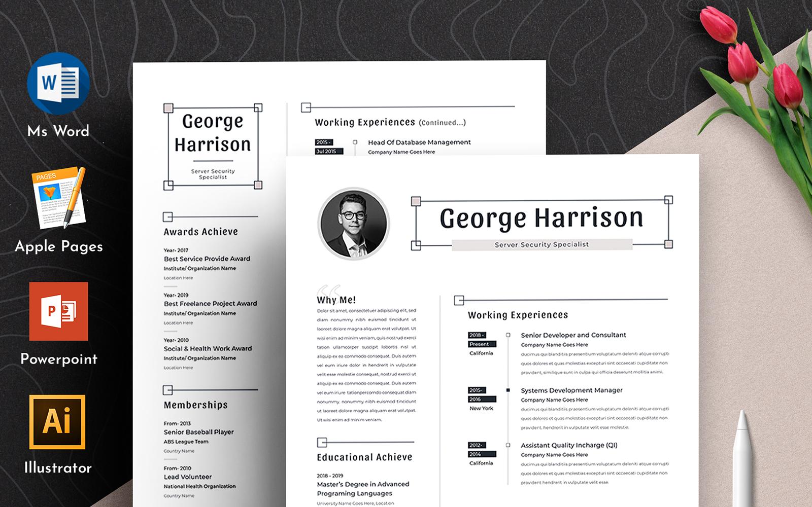 """Plantilla De CV """"George Clean Word Pages Cv"""" #102168"""