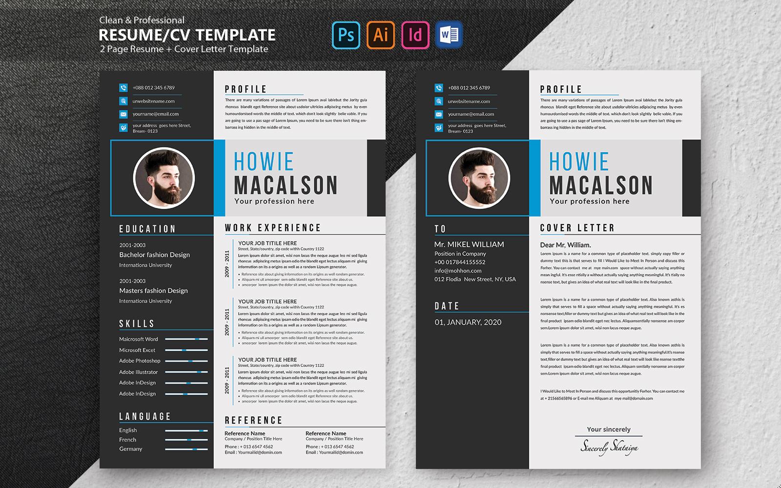 "Plantilla De CV ""Howie Macalson Creative"" #102100"