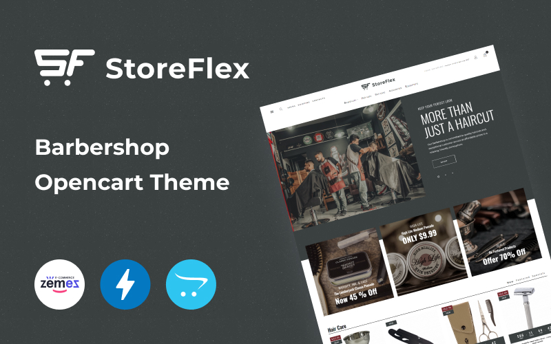 Responsywny szablon OpenCart Storeflex Barbershop Online Template #102149