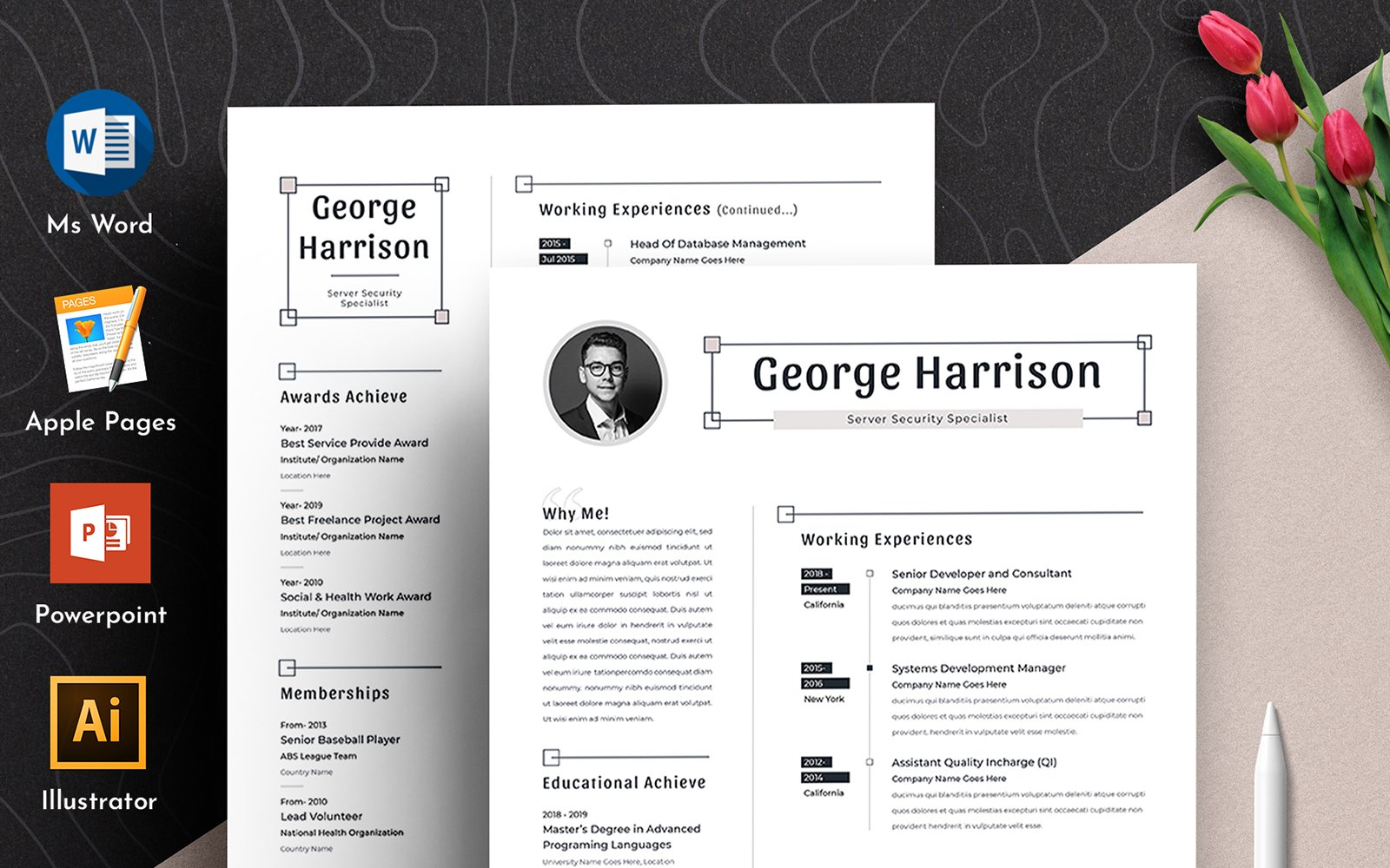 Szablon resume George Clean Word Pages Cv #102168