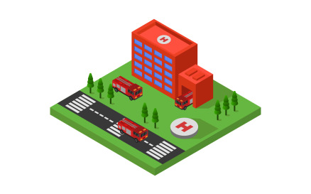 Isometric Fire Station Vector Graphic