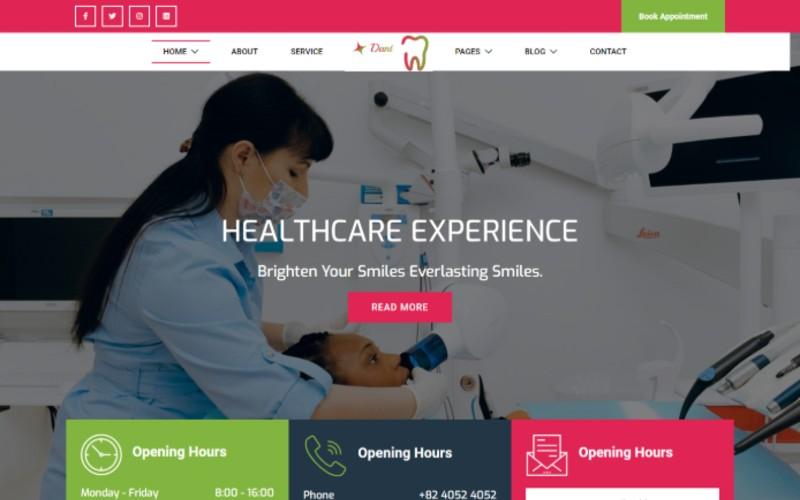 """Dant - Dentist Medical"" Responsive Website template №102213"